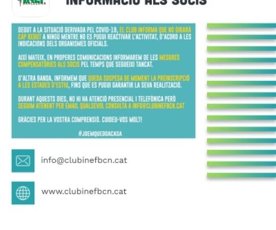 COMUNICAT | Informació dirigida als Socis del Club Esportiu INEF Barcelona