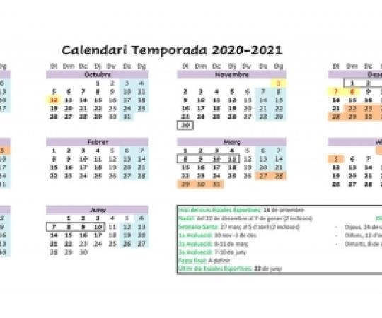 Calendari de les Escoles Esportives 2020-2021