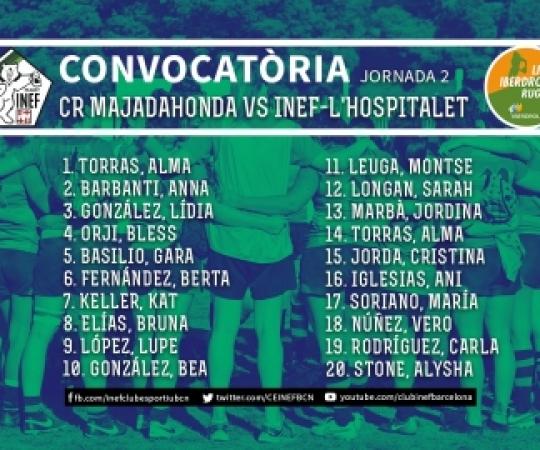 CONVOCATÒRIA: CR Majadahonda vs INEF-L'Hospitalet, J2 Lliga Iberdrola