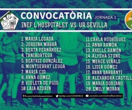CONVOCATÒRIA: UAS Universitario de Sevilla CR vs INEF-L'Hospitalet, J1 Lliga Iberdrola